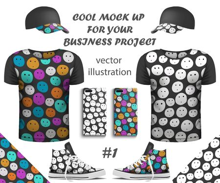 Design collection of realistic T-shirts, smartphone, Sneakers and cap mock up with Seamless pattern on white background. Youth T-shirts for Your business project. Vector Illustration Иллюстрация