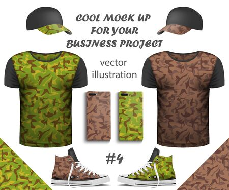 Design collection of realistic T-shirts, smartphone, Sneakers and cap mock up with Seamless pattern on white background. Youth T-shirts for Your business project. Vector Illustration Фото со стока - 129443326