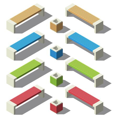 Bench and urn isometry set. Small architectural forms. Vector Illustration
