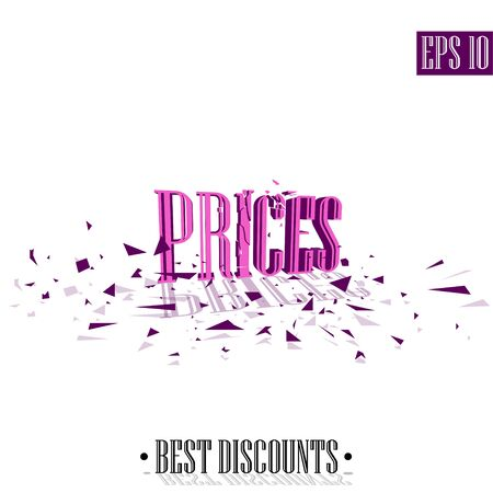 Prices, destroyed letters 3D best discounts 일러스트
