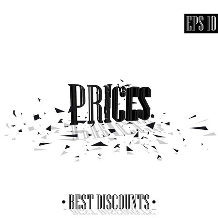 Prices, destroyed letters 3D best discounts Illusztráció