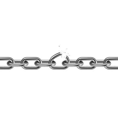 Chaîne brisée en métal 3D. Notion de liberté. Illustration vectorielle.