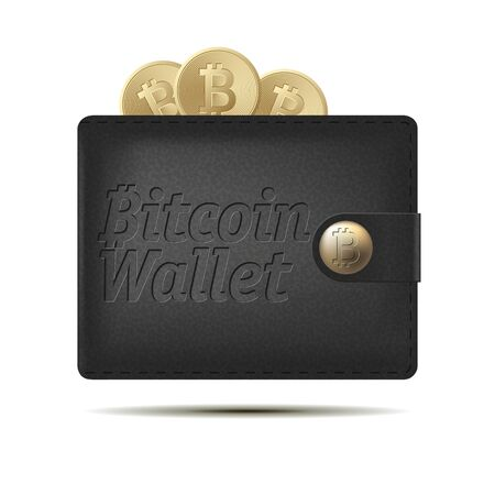 Bitcoin wallet with coins isolated on white background. Design element for Your business project. Black and yellow bitcoin. Vector Illustration