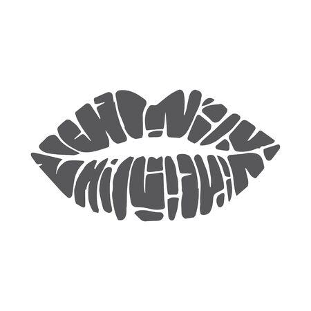icons of female lips print. Vector Illustration