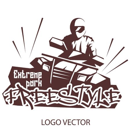 Extreme park logo concept ATV quad bike. Freestyle on ATV  for Your business project. Vector Illustration ATV