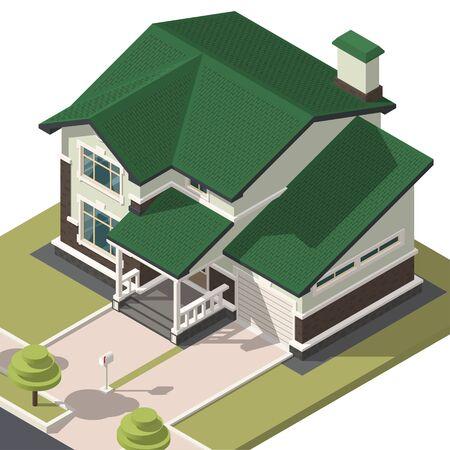 Isométrie de la maison familiale. Vue isométrique hyper détaillée de la maison. Objet 3D pour jeux vidéo ou publicité immobilière. Pour votre entreprise. Illustration vectorielle Vecteurs