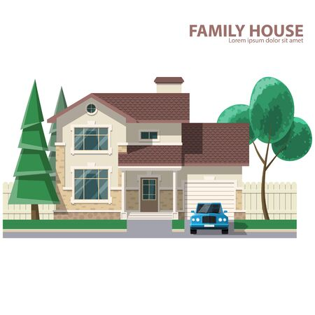 Family house, car and trees. Hearth and home. Flat design. For your project. Vector Illustration