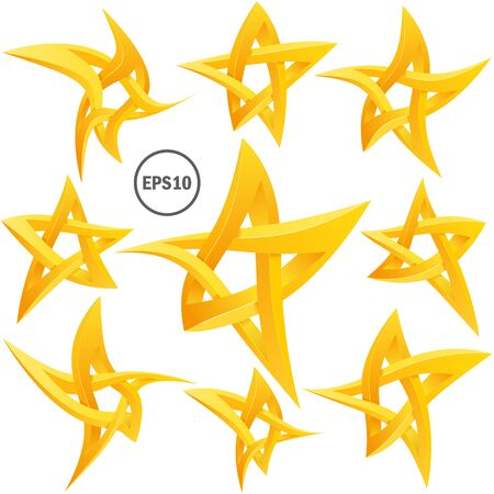 Impossible star 3D set. For Your project. Icon or logo. Vector Illustrstion