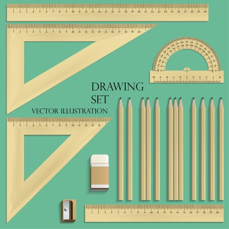 Drawing Set, ruler, protractor, pencils, eraser and sharpener realistic wood