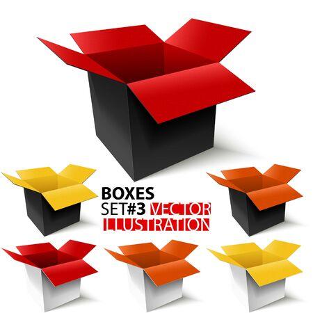 Multicolored open boxes set #3. 3D. Vector Illustration