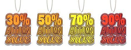 30, 50, 70, 90% Autumn Sale. Color Sale Tags Design. Big Fall Sale For Your Business Project. Vector Illustration 向量圖像