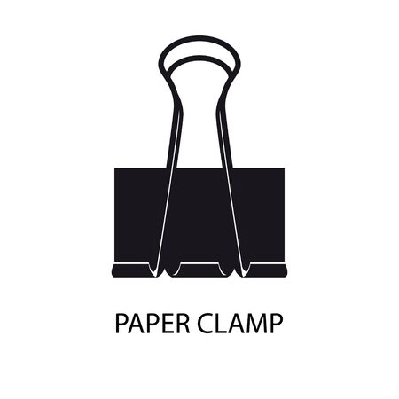 Black paper clamp silhouette isolated on white background. Design element For Your business project. Vector Illustration 向量圖像