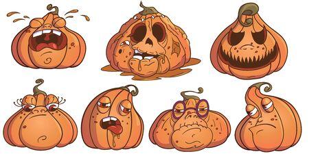 Halloween Pumpkins Jack Set. 7 Pumpkins Illustration For Your Business Project. Pumpkin Vector Illustration Ilustração