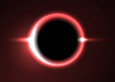 Supermassive Black Hole or Solar Eclipse. Red Deep Space. The Black Hole Destroys The Red Star. Vector Illustration