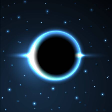 Supermassive Black Hole or Solar Eclipse. Blue Deep Space. The Black Hole Destroys The Blue Star. Vector Illustration