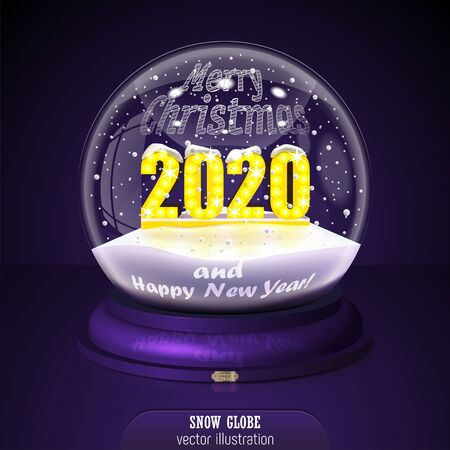 2020 yellow Snow globe on violet background. Merry Christmas and Happy New Year 2020. Realistic christmas snow globe 2020 for Your business project. 2020 Vector Illustration