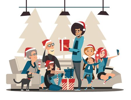 Christmas family. Family characters and Christmas or New Year gifts.