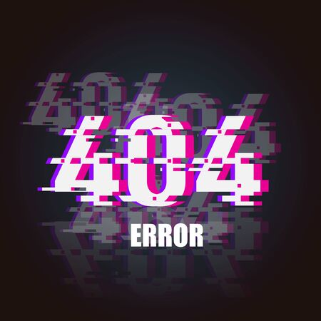 404 Error glitch neon banner. 404 design element for web. Cyber punk style. 404 error Vector Illustration Ilustração