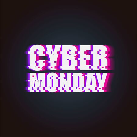 Cyber Monday Sale. Glitch neon Banner of Cyber Monday Sale isolated on the white background. Cyber Monday Sale Vector Illustration 向量圖像