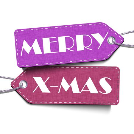 Merry X-Mas tags isolated on the white background. Merru Christmas and Happy New Year banner. Vector Illustration