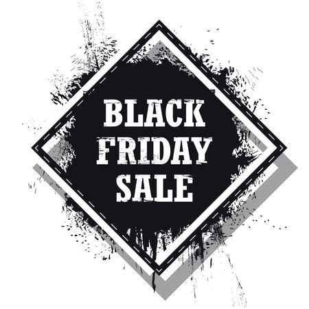 Black Friday Sale banner isolated on the white background. Grunge Black Friday Sale Vector Illustration