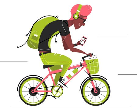 Travel Cyclist. Cartoon Man Cycling Forward. Bicycle Delivery Man. Active Leisure Healthy Lifestyle Outdoors. Vector Illustration
