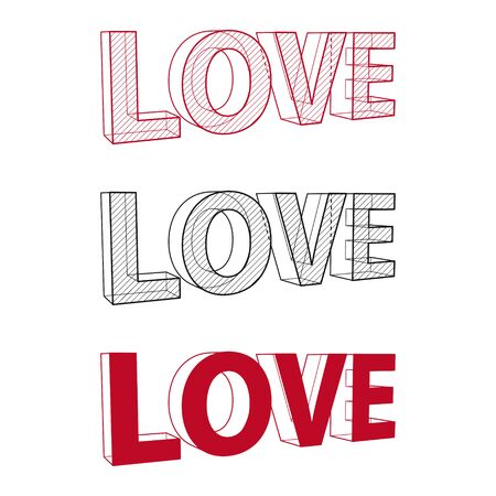 Love drawing. 3D text structure. Vector Illustration Ilustração