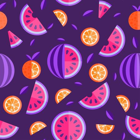 Watermelon and orange seamless pattern. Fruit bright seamless pattern or background. Vector Illustration