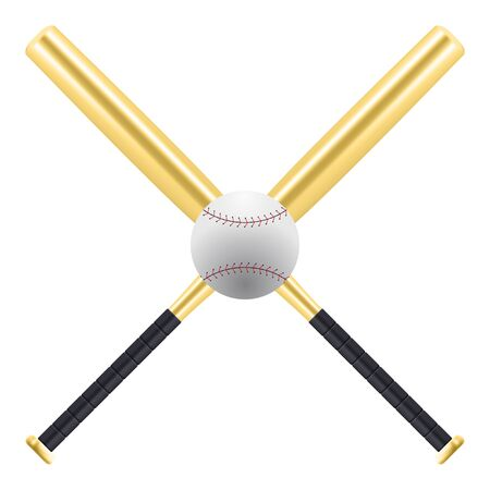 Baseball and golden baseball bats isolated on white background. American sport equipment. Gold bats Vector Illustration