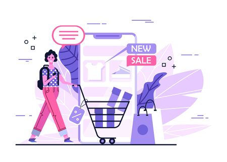 Online Shopping With Smartphone. Shopping Concept For Your Business Project. White Woman Is Buying Gifts Online. Online Store Vector Illustration Ilustração