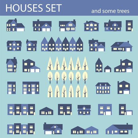 Suburban houses set. Houses exterior flat design front view with roof and some trees. Collection of houses icons Vector Illustration