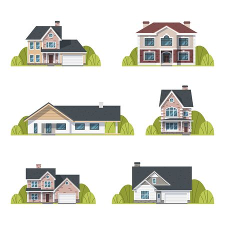 Houses set. Suburban houses exterior flat design front view with roof and some trees. Collection of classic and modern houses isolated on the white background. Vector Illustration