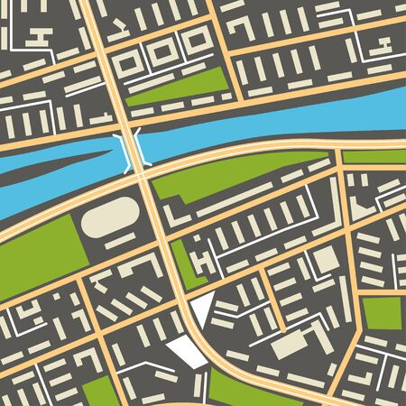 City navigation map with symbols of streets, houses, parks and river. Graphic illustration of city map background. Vector Illustration 向量圖像