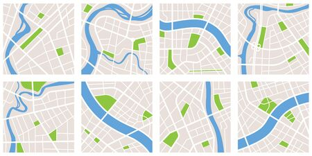 City navigation map pattern gps style set. Eight maps isolated on white background. City with river and canal and parks. Vectoe Illustration