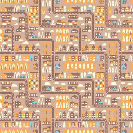 City seamless pattern top view flat design. Suburban houses and roads seamless pattern or background. Vector Illustration