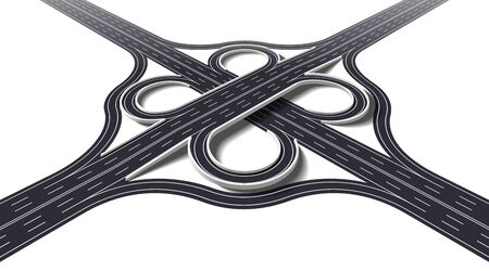 Cloverleaf interchange two level perspective. 3D four way interchange with loop ramps, underpass and overpass. Detailed interchange isolated on white background. Vector Illustration 向量圖像