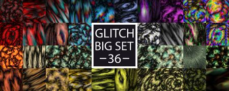 Glitch set. 36 glitch abstract background. Alien glow texture or Space, alien planet pattern. Colorful big set of different glitches. Vector Illustration Stock Illustratie
