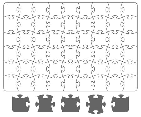 Puzzle template and puzzle pieces on white background. Board game puzzle for Your business project. Vector Illustration
