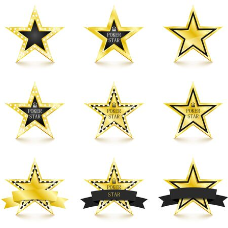 Golden star with diamonds set isolated on white background. Poker concept. Different gold stars. Vector Illustration 向量圖像