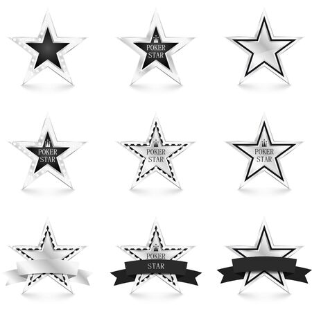Silver star with diamonds set isolated on white background. Poker concept. Different silver stars. Vector Illustration 向量圖像