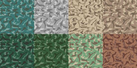 Camouflage army set seamless pattern. Military texture seamless pattern or background. 8 green and brown seamless patterns. Vector Illustration