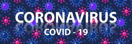 Coronavirus COVID - 2019 blue background. Coronavirus web design. Deadly type of virus 2019-nCoV. Vector Illustration