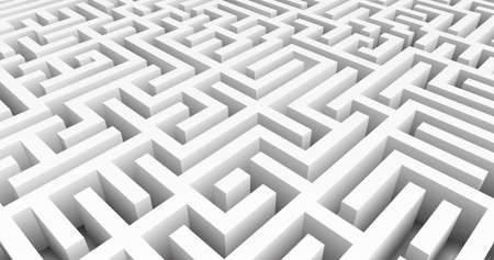 Labyrinth 3D Vector. Maze game. Classic box labyrinth in white color and high walls. Gray maze for your business project. Vector illustration Vettoriali