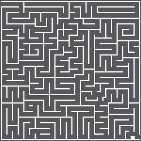 A whie square labyrinth top view on dark gray background. Classic Maze game. Gray maze for your business project. Two exit labyrinth. Vector illustration