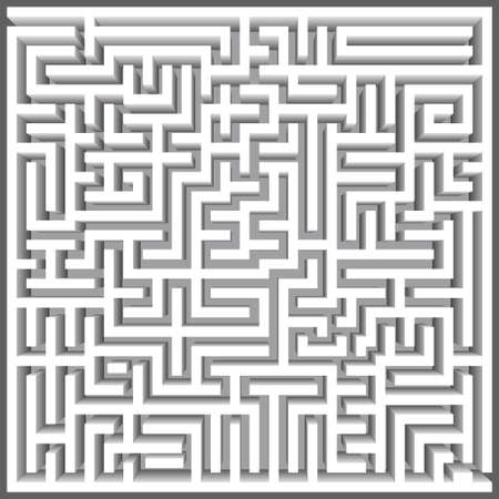 Labyrinth 3D top view Vector. Maze game. Classic box labyrinth in white color and high walls. Gray maze for your business project. Vector illustration