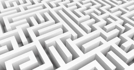 Labyrinth 3D Vector. Maze game. Classic box labyrinth in white color and high walls. Gray maze for your business project. Vector illustration Vektorgrafik
