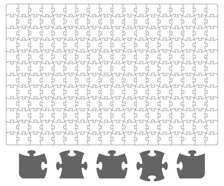 Puzzle template and puzzle pieces on white background. Board game puzzle for your business project. Vector illustration 向量圖像