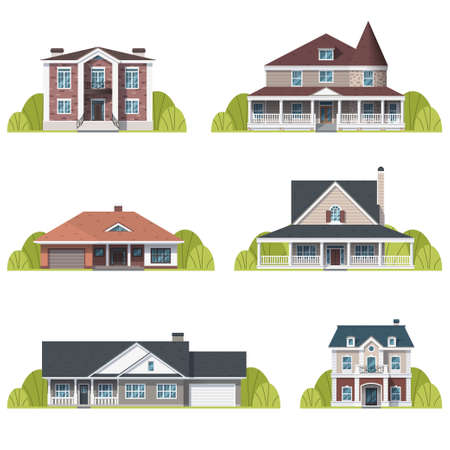Houses set. Suburban American houses exterior flat design front view with roof and some trees. Collection of classic and modern American houses isolated on the white background. Vector illustration Vettoriali