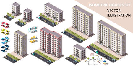 Public residential buildings isometry set. Isometric view of the house and cars. Cityscape design elements with isometric 3D object for video games or real estate advertising. Vector illustration