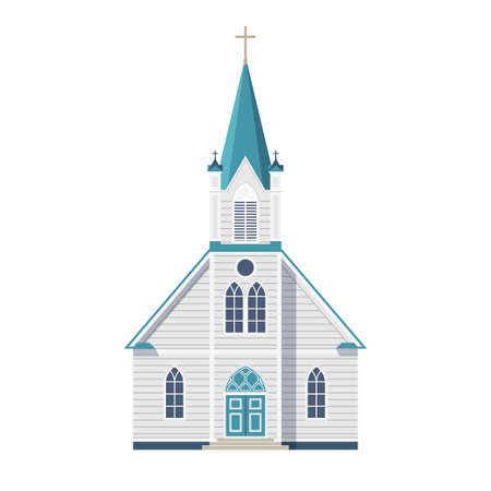 Catholic Church with cross, door and windows front facade isolated on white background. Vector illustration